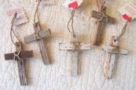 rustic crosses set of five rustic vintage recycled wood cross ornaments 3