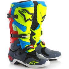 size 10 motocross boots new alpinestars 2018 mx tech 10 le union fluro yellow blue red