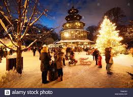 christmas market at chinese tower english garden munich bavaria