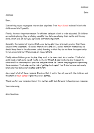 draft letter of persuasion to ban playtimes by miss n teaching