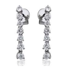 diamond drop earrings single row brilliant cut diamond drop earrings 0 75ct diamond