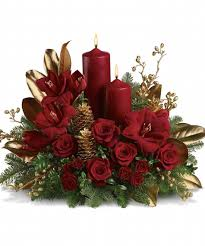 decorations red and gold centerpiece theme color with red roses