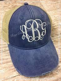 distressed monogram hat personalized hats trucker hat