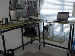 multi monitor multi terminal standing desk workstation