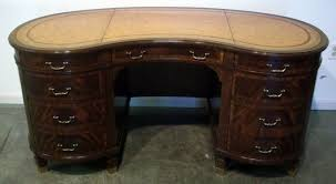 Antique Corner Desk by Maitland Smith Leather Top Kidney Shaped Desk With Workstation