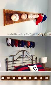 Baseball Bedroom Decor | baseball hat rack using game balls by the created sign featured on