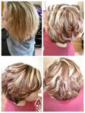 modified bob haircut photos before top left after red brown and blonde highlights modified
