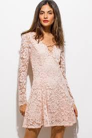 shop blush pink floral lace laceup front long sleeve skater mini