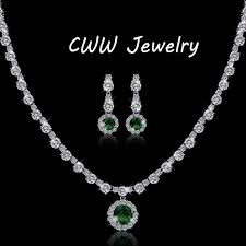 crystal rhinestone necklace images Cwwzircons modern design gorgeous round white cz and green crystal jpg