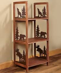 storage shelf log cabin moose bear tree wolf lodge living room