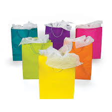 1 x lot of 12 large bright neon color paper gift