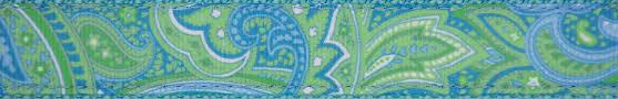 paisley ribbon buy 1 inch green paisley ribbon on blue webbing