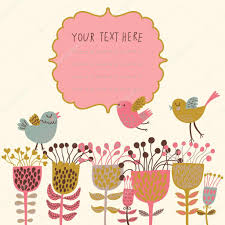 spring flowers and birds cartoon floral background in vector