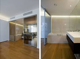 Modern Apartment Bathroom - sliding door and bathroom at modern apartment interior in moscow