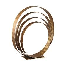 24 in x 8 in x 20 in concentric rings decorative sculpture in