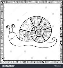 coloring page cute snail black white stock vector 351811949