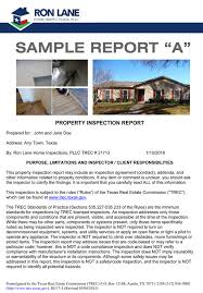 sample house inspection report sample home inspection reports call ron lane today