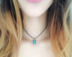 cross stone necklace images Stone cross necklace etsy jpg