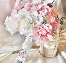 silk bride bouquet white cream pale pink roses cream hydrangea
