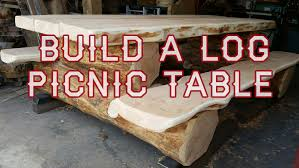 Build Wooden Picnic Table by Log Picnic Table Build Youtube