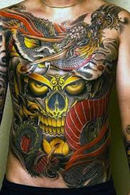 neo japanese style colorful whole chest of mystical skull