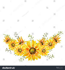 hand painted watercolor sunflowers wreath on stock illustration