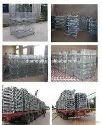 galvanized welded wire mesh container warehouse steel storage cage