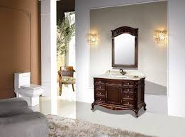 antique wooden bathroom vanity with aesthetic carving