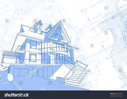 blue print house architecture design blueprint house plans vector stock vector