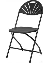 fan back plastic folding chair metal frame black