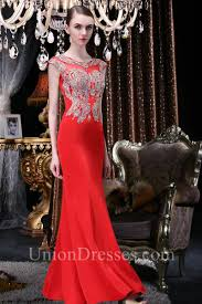 mermaid cap sleeve red satin gold lace applique beaded evening