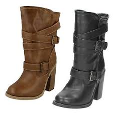 s boots calf length spot on mid calf length boots buckle design pull on