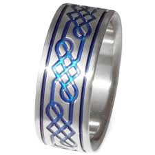 blue titanium wedding band titanium celtic promise ring wedding band blue ring