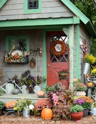 How To Decorate Your House For Fall - fall garden shed decor outdoor decorating ideas