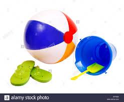 summer fun beach accessories beach ball flip flops and pail with