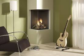 decorations corner modern fireplace of neutral living room with