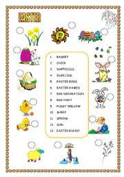 english teaching worksheets easter vocabulary