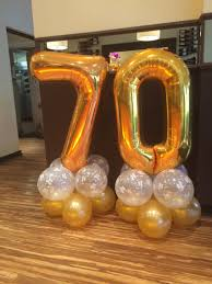 70th Birthday balloons in gold and clear happy birthday