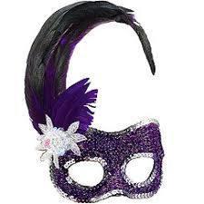 purple masquerade mask masquerade mask purple with side feathers masquerade