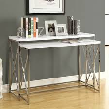 Glossy White Desk by Monarch Specialties 3027 2 Piece Console Table Set Chrome U0026 Glossy