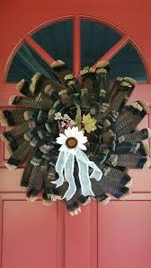 turkey feather wreath twig wreath made by my daugher marcia with turkey feathers