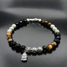 bead bracelet with charm images Men 39 s beaded bracelet with silver thai beads tiger 39 s eye onyx and jpg