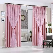 Beige And Pink Curtains Decorating Thick Pink Polyester Thermal Blackout Insulated Curtains No Sheer
