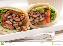 arabic wrap kafta shawarma chicken pita wrap roll sandwich stock image image