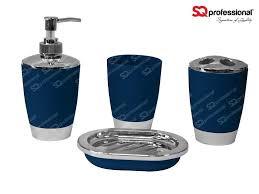 4 piece bathroom set dark blue liquid soap dispenser soap tray