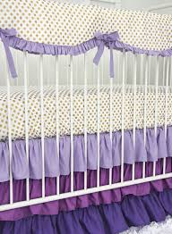 purple and gold dot ruffle crib bedding set by caden lane