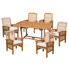 walker edison furniture company 7 piece light brown acacia wood walker edison furniture company 7 piece light brown acacia wood outdoor dining set with cushions