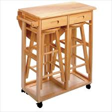 Drop Leaf Breakfast Table Mobile Breakfast Bar Table Set With 2 Stools In