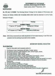 notification of schools timings for pre nursery and nursery