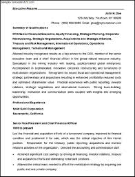 Senior Finance Executive Resume Format Finance Resume Format